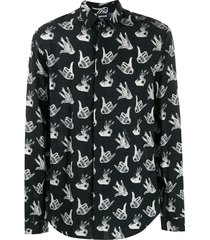 just cavalli hand sign print shirt - black