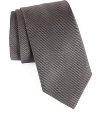 men's david donahue stripe silk tie, size regular - grey