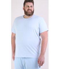 camiseta masculina plus size manga curta gola careca azul claro