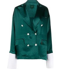 jejia extended-cuff double breasted blazer - green