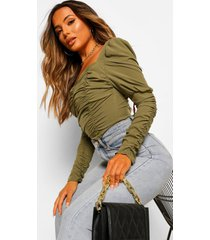 petite woven ruched front square neck top, khaki