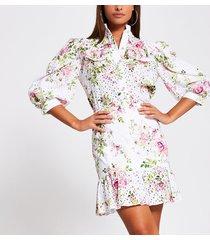 river island womens white broidery peplum mini skirt
