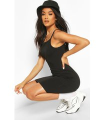 90's neck mini bodycon dress, black