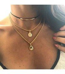 collana di dichiarazione della conchiglia alla moda collana di clavicola a più strati collana di lega della lega del nastro