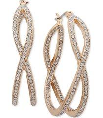 """anne klein medium gold-tone pave x-hoop earrings 1-1/2"""""""