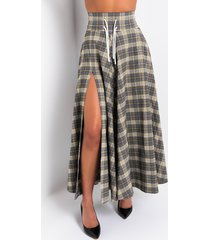 akira out and about slit plaid skirt