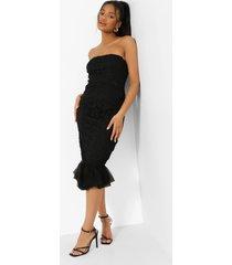 strapless midi jurk met geplooide kanten zoom, black