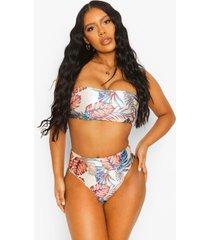 tropisch hoog uitgesneden bikini broekje met ceintuur
