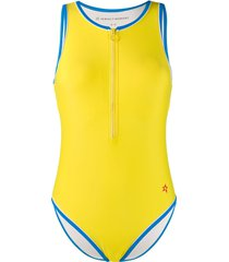 perfect moment half-zip one-piece swimsuit - yellow