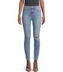 hudson women's high-rise distressed skinny jeans - tarwin destructed - size 26 (2-4)