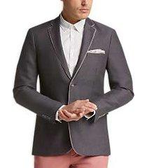 1 like no other gray herringbone slim fit sport coat