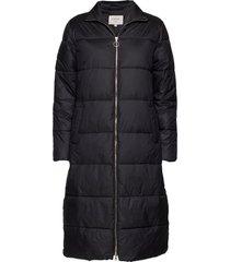 gaiagro long jacket gevoerde lange jas zwart cream