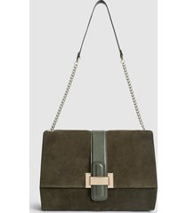 reiss maya - suede shoulder bag in dark green, womens
