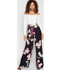 bloeenprint broek met wijde pijpen en hoge taille, zwart