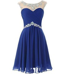 fanmu sheer scoop neck short prom homecoming dresses cocktail party gown roya...