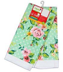 pano para copa floral rosa e verde 63,5x38cm com 2 peças