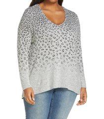 plus size women's bobeau fade print knit tunic top, size 1x - grey