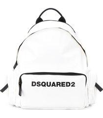 dsquared2 multi-pocket logo backpack - white