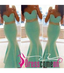 sweetheart prom dress mermaid mint gold beads long satin prom gown/evening dress