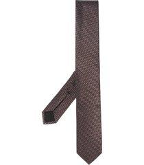 boss hugo boss geometric jacquard silk tie - brown