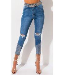 akira too good high waisted rhinestone fringe skinny jeans