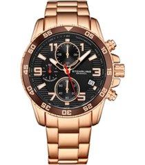 stuhrling men's rose gold stainless steel bracelet watch 40mm
