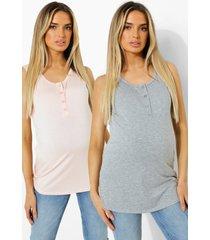 zwangerschap hemdjes met knopen (2 stuks), grey