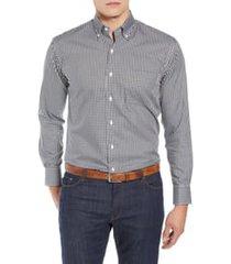 men's peter millar crown soft gingham regular fit shirt, size small - black