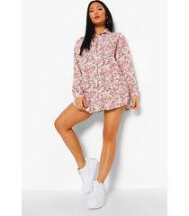 plus bloemenpatroon blouse jurk, rose