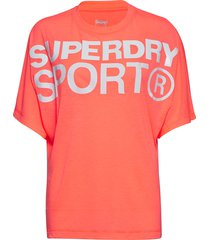 active loose bf tee t-shirts & tops short-sleeved röd superdry