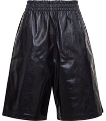 bottega veneta high waisted bermuda shorts in leather