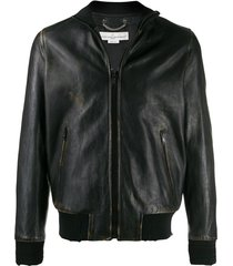 golden goose logo print jacket - brown