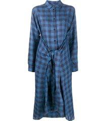 henrik vibskov gingham tied-waist shirt dress - blue