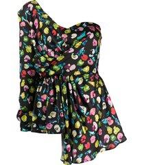 amen one shoulder floral print blouse - black