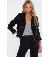 womens vegan faux leather jacket with buckle belt - black