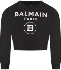 balmain black sweatshirt with double logo for girl