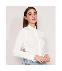 camisa com amarração manga longa off white