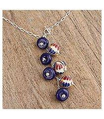 ceramic pendant necklace, 'harvest partners' (mexico)