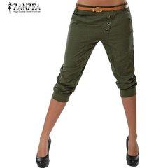 s-3xl zanzea mujeres midi pantalones casuales pantalones de cintura baja carrera elásticas -verde