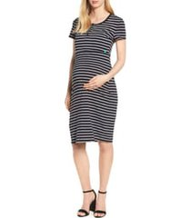 women's modern eternity maternity/nursing henley t-shirt dress, size x-large - black