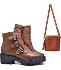 bota coturno feminino plataforma baixa + bolsa - feminino