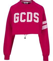 gcds crop top logo sweater