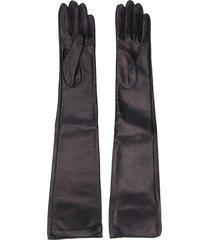 manokhi long textured style gloves - black