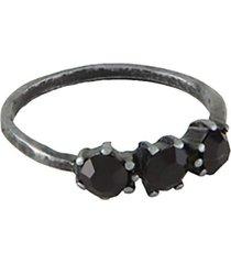 anel armazem rr bijoux pequeno cristais pretos grafite