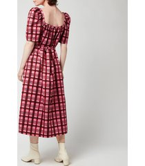 baum und pferdgarten women's aiko dress - pink plaid - eu 38/uk 10