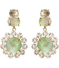 2-in-1 fluorite, blue topaz & blue quartz earrings