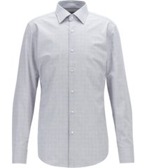 boss men's jango slim-fit plain-check melange cotton shirt
