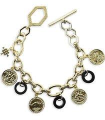 akola women's 10k goldplated & abalone charm bracelet