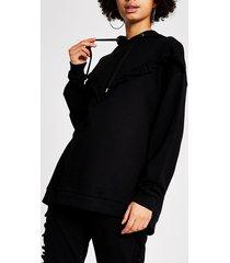 river island womens black chevron frill ribbed hoodie