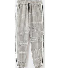 hombre estampado a cuadros raya lateral cordón cintura elástica casual pantalones